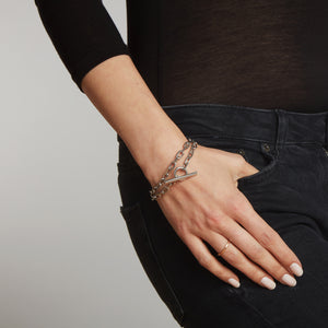 SAXON TWO TONE DOUBLE WRAP CHAIN LINK TOGGLE BRACELET