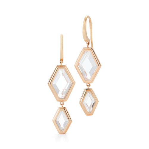 BELL 18K ROCK CRYSTAL TWO DROP EARRINGS