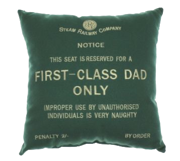 'First Class Dad Only' Green Cushion