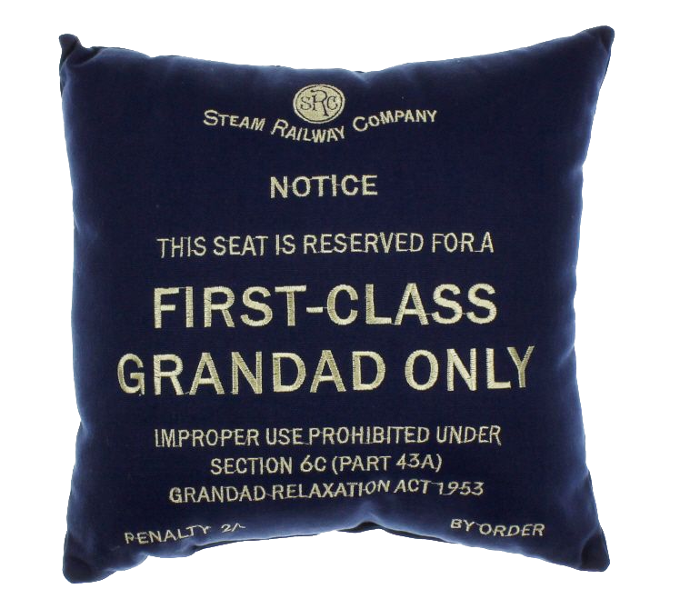 'First Class Grandad Only' Blue Cushion