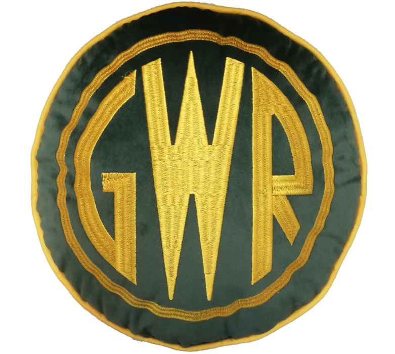 "GWR Emblem Yellow on Dark Green 12"" Cushion"