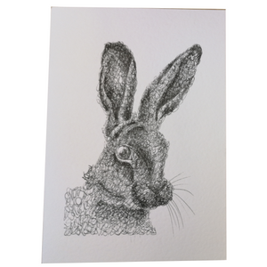 Harriet the Hare Scribble Art Greetings Card by Anneka Smith