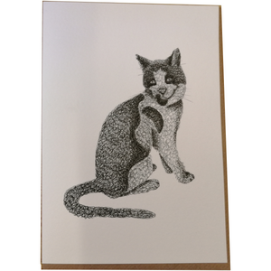 Puddles the Station Cat Scribble Art Greetings Card by Anneka Smith