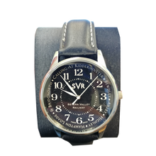 Load image into Gallery viewer, EXCLUSIVE Severn Valley Railway Watch with navy hand-painted face and black leather strap