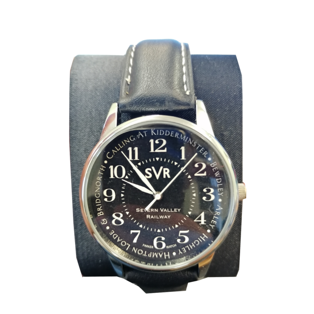 EXCLUSIVE Severn Valley Railway Watch with navy hand-painted face and black leather strap
