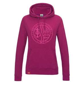 Hot pink Severn Valley Railway lady fit hooded sweatshirt -SVRW0017
