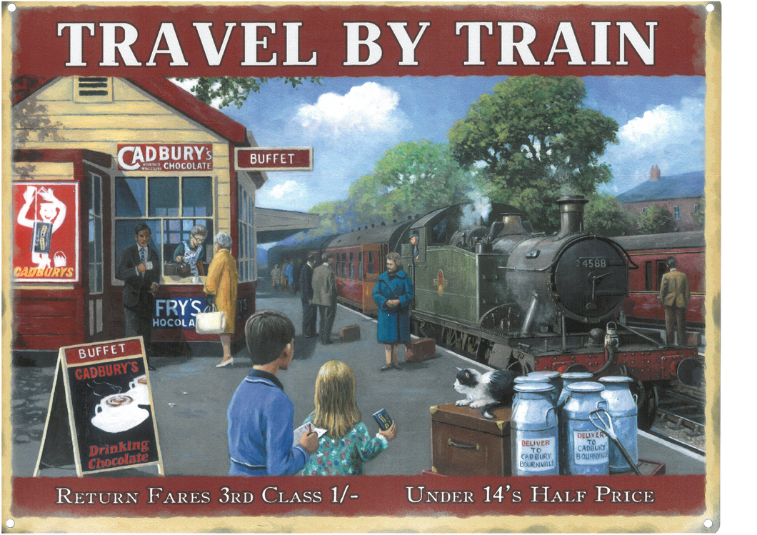 Travel by Train Metal Sign (various sizes available)