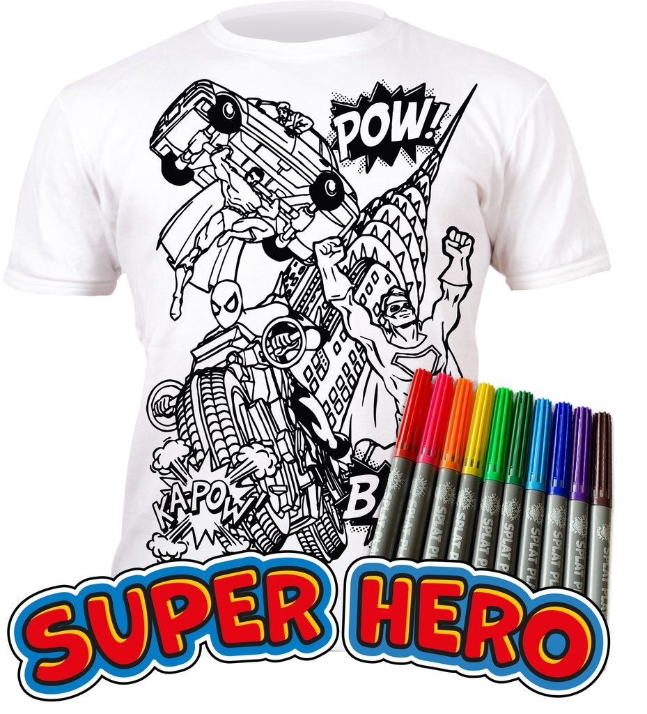 Splat Shirt Colour In T Shirt Super Hero