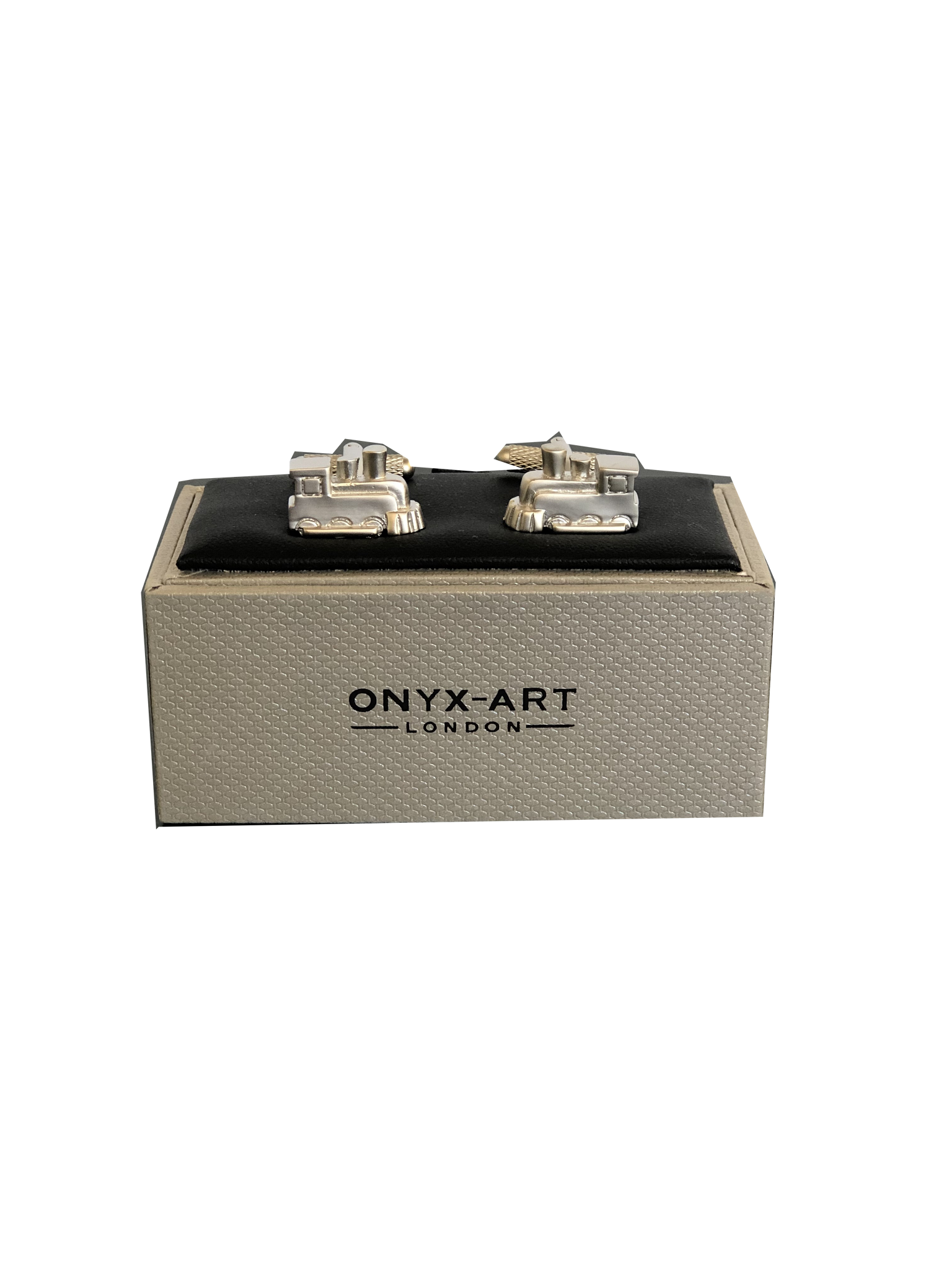 Onyx Art Steam Train Cufflinks in Presentation Gift Box