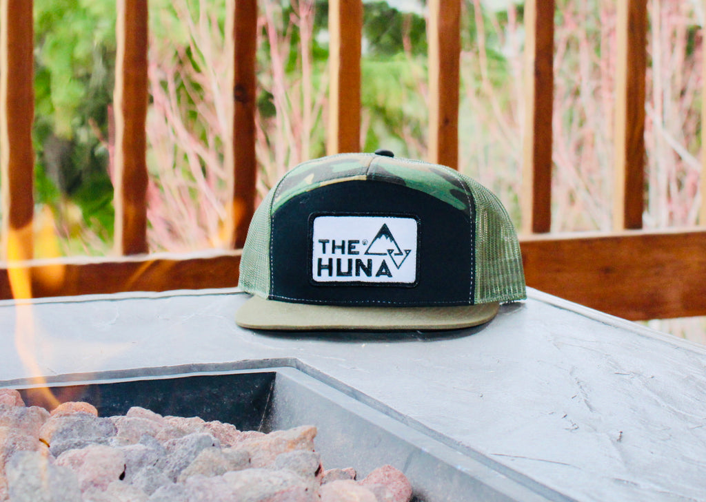 Camo, Black & Green 7 Panel Trucker Hat