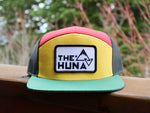 Yellow/Red/Black/DK Green Jamaican 7 Panel Flat Bill Trucker Hat