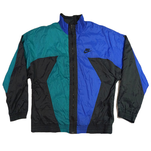 Retro Nike Vintage Green, Blue, Black Colorblock windbreaker