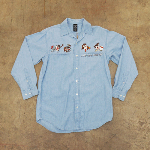 Vintage Taz Embroidered Jean Shirt