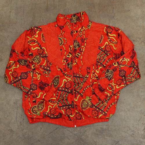 Vintage Red Print Windbreaker