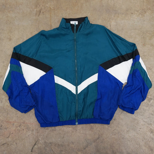 Turquoise, Blue, White, and Black Colorblock Windbreaker