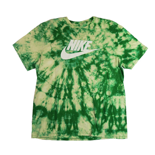 Hand Bleach dyed Green Nike Dri Fit Tshirt