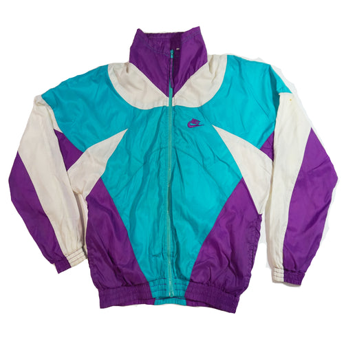 Retro Nike Vintage Teal, Purple, White Colorblock Windbreaker