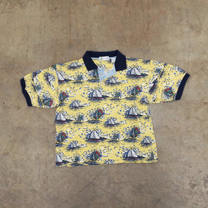 Sailboat print Vintage polo shirt
