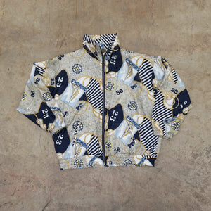 Nautical Print Vintage Windbreaker