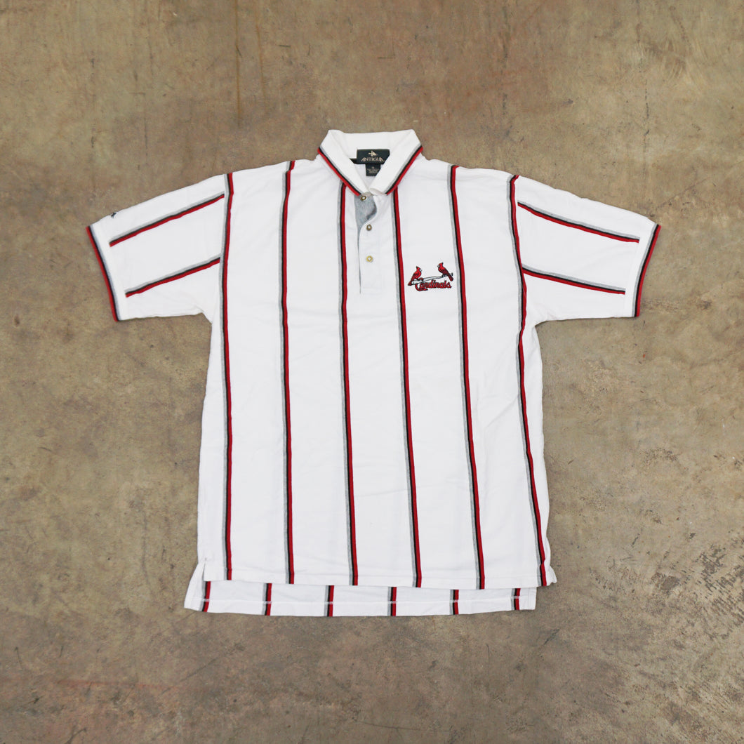Vintage St Louis Cardinals Striped Polo Shirt