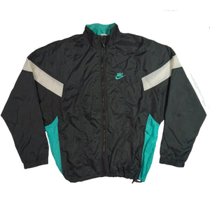 Retro Nike Turquoise and Black Colorblock Windbreaker