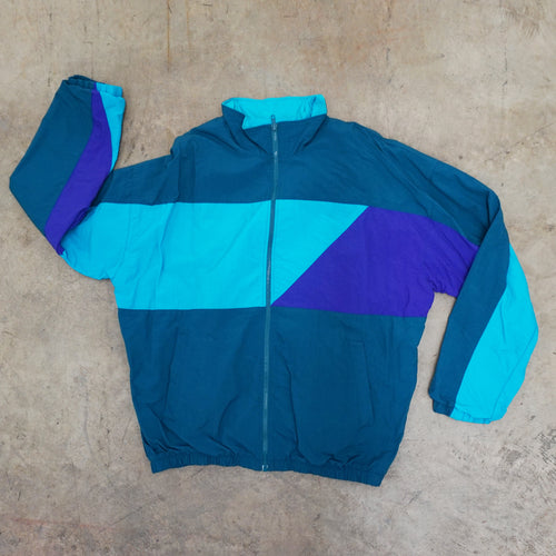 Green, Turquoise, Purple Colorblock windbreaker