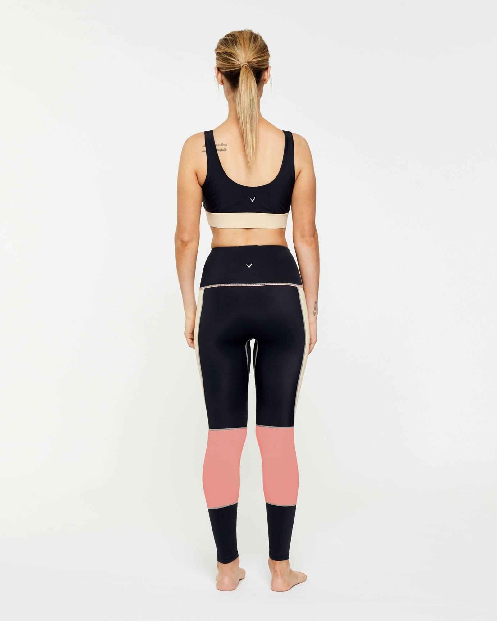 Warrior PECTORALIS bra TOP WITH CONTRAST UNDER BUST BAND, WORN WITH GRACILIS 7/8 LEGGING BACK VIEW