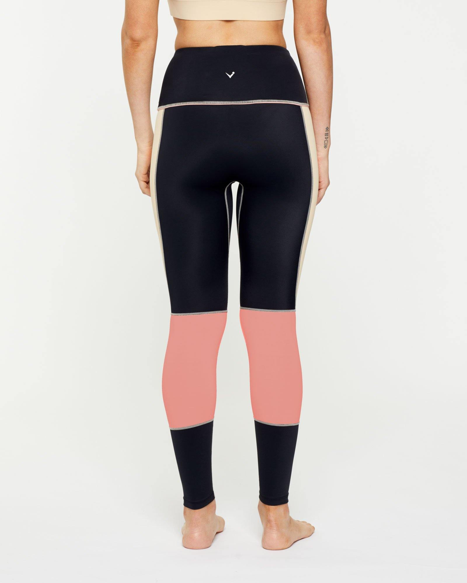 Warrior GRACILIS 7/8 high waisted LEGGING BLACK WITH CONTRAST PANELS, BACK VIEW