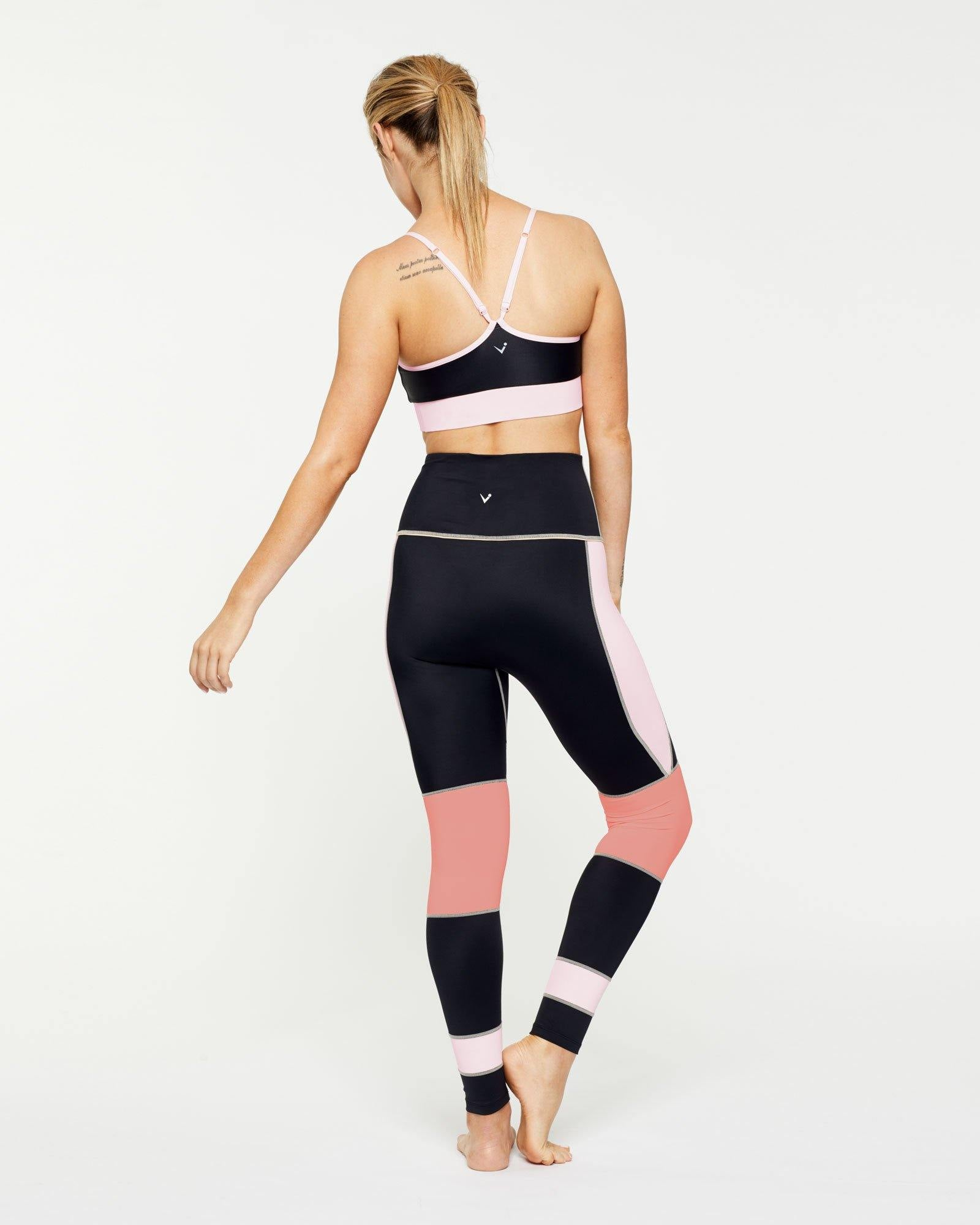 INFRASPINATUS ACTIVE TOP WITH CONTRAST UNDER BUST BAND & ADJUSTABLE STRAPS, WORN WITH GRACILIS FULL LENGTH LEGGING, WARRIOR SOPHISTICATE COLLECTION BACK VIEW