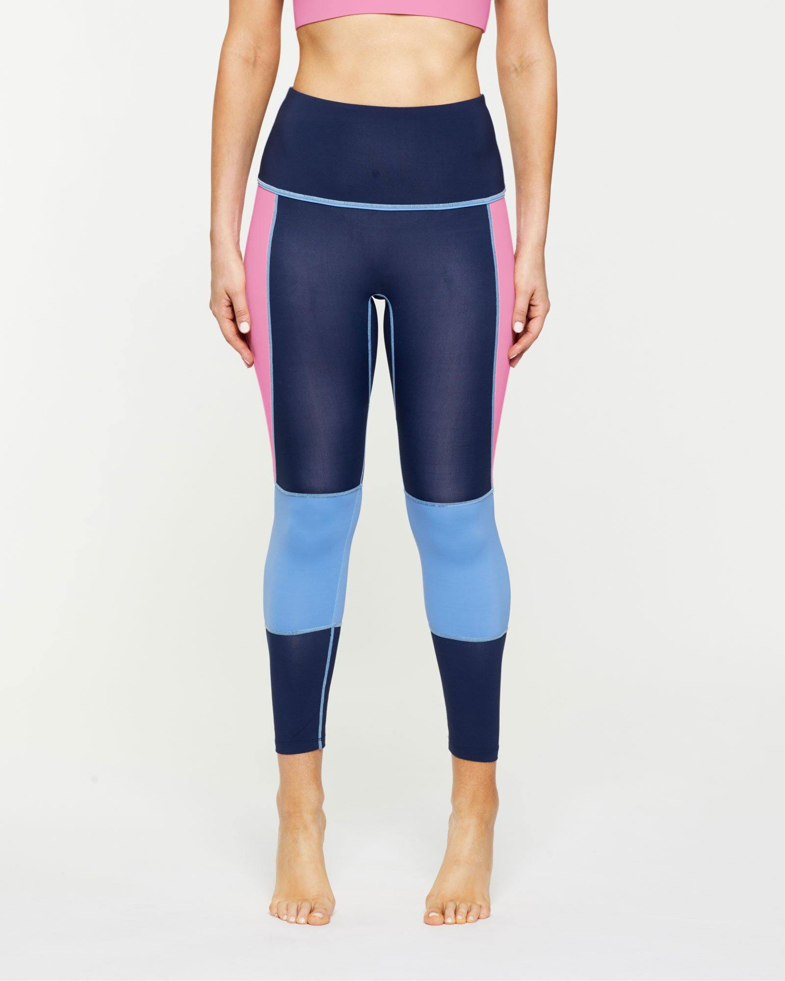 Femininely GRACILIS 7/8 HIGH WAISTED LEGGING Navy Blue WITH CONTRAST PANELS Sky blue and peony pink, front VIEW for pilates, barre, yoga, dance, gym-workouts