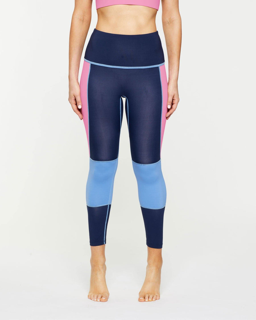 Femininely GRACILIS 7/8 HIGH WAISTED LEGGING Navy Blue WITH CONTRAST PANELS Sky blue and peony pink, side VIEW for pilates, barre, yoga, dance, gym-workouts