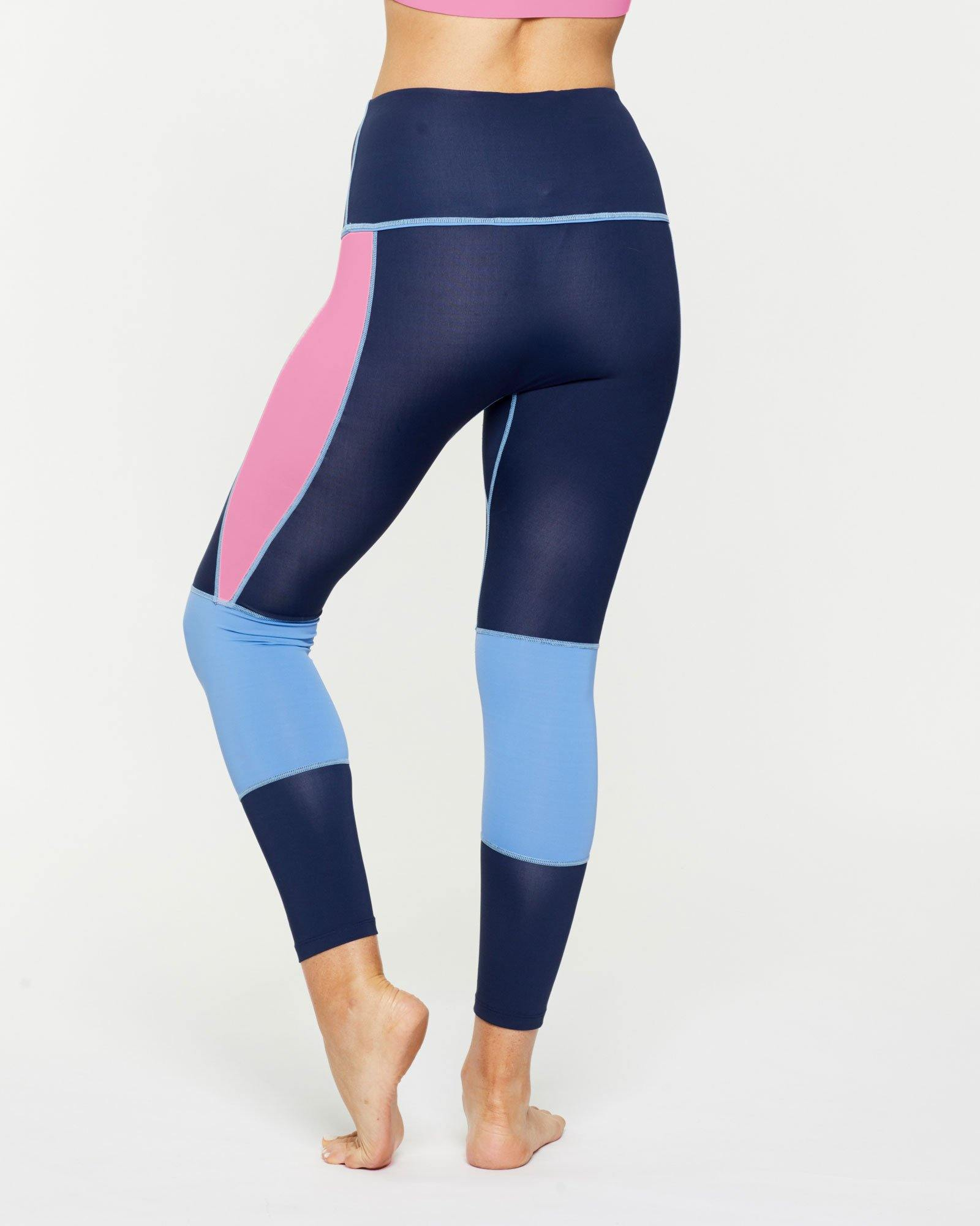 Femininely GRACILIS 7/8 HIGH WAISTED LEGGING Navy Blue WITH CONTRAST PANELS Sky blue and peony pink, back VIEW for pilates, barre, yoga, dance, gym-workouts