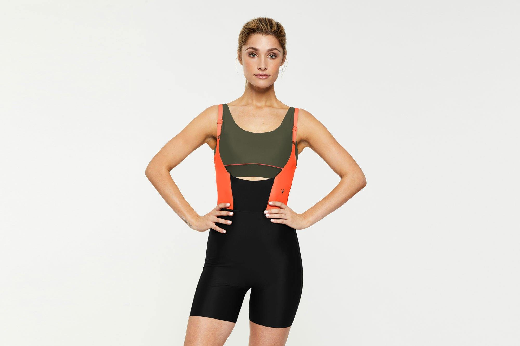 Sergeant Olive Pectoralis Olive bra top worn under the Rectus two way wear short core bodysuit, front view, great for pilates, barre and in-studio workouts