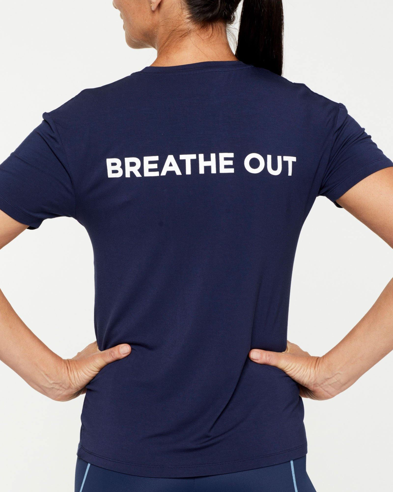 Femininely SCAPULAE Bamboo T-SHIRT, Navy blue WITH WHITE MESSAGING, BACK VIEW