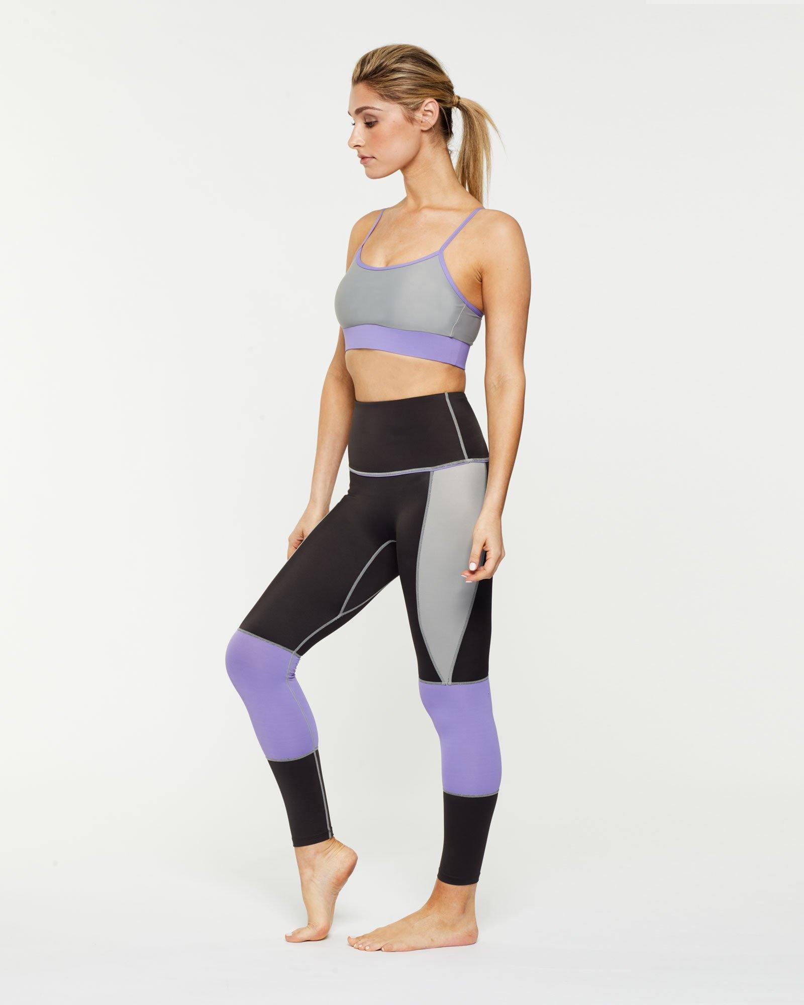 Steely Infraspinatus Bra TOP light grey WITH CONTRAST deep mauve UNDER BUST BAND ADJUSTABLE V STRAPS, WORN WITH GRACILIS 7/8 LENGTH LEGGING, SIDE VIEW