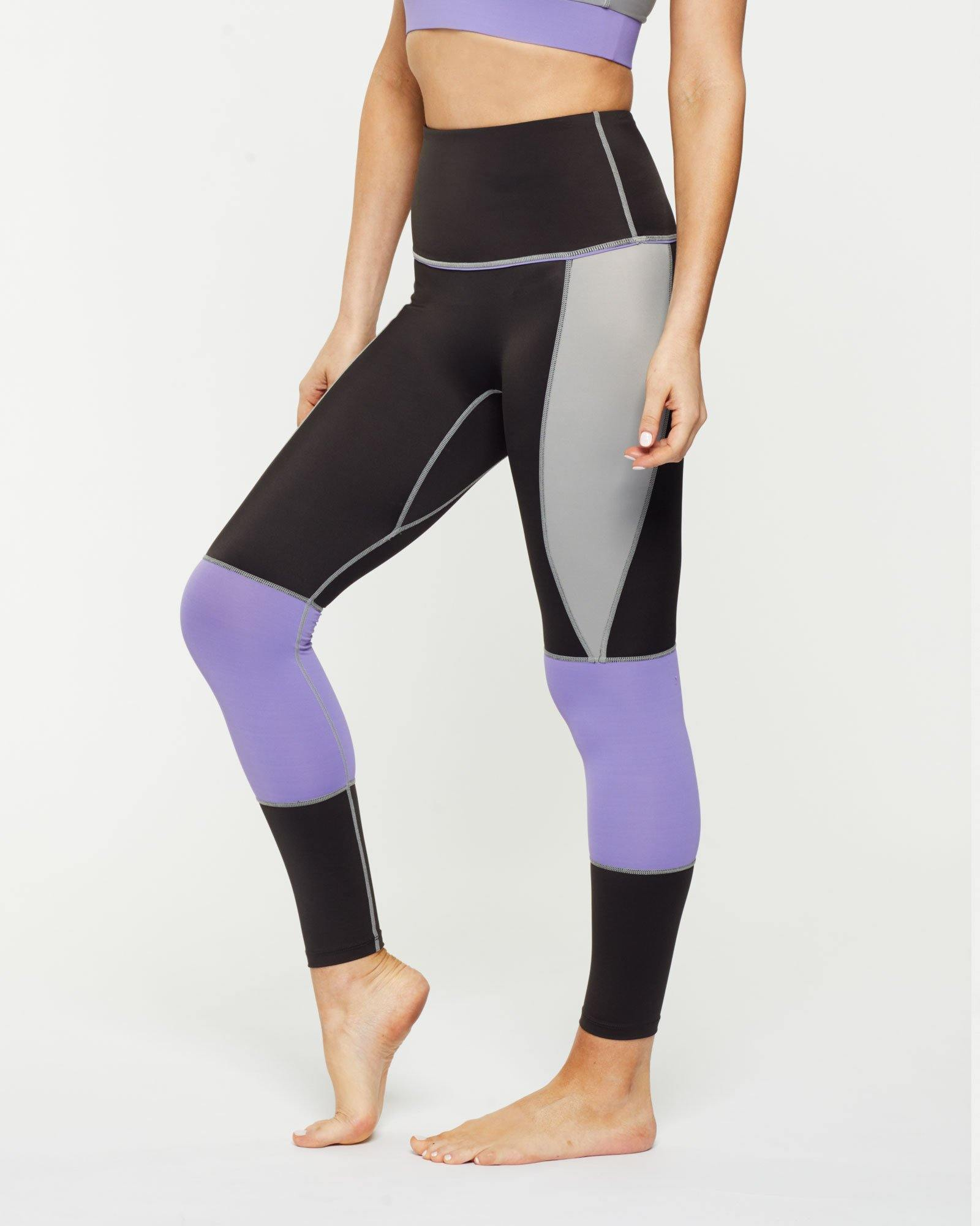 Steely GRACILIS 7/8 HIGH WAISTED LEGGING LIQUORICE GREY WITH CONTRAST PANELS, SIDE VIEW