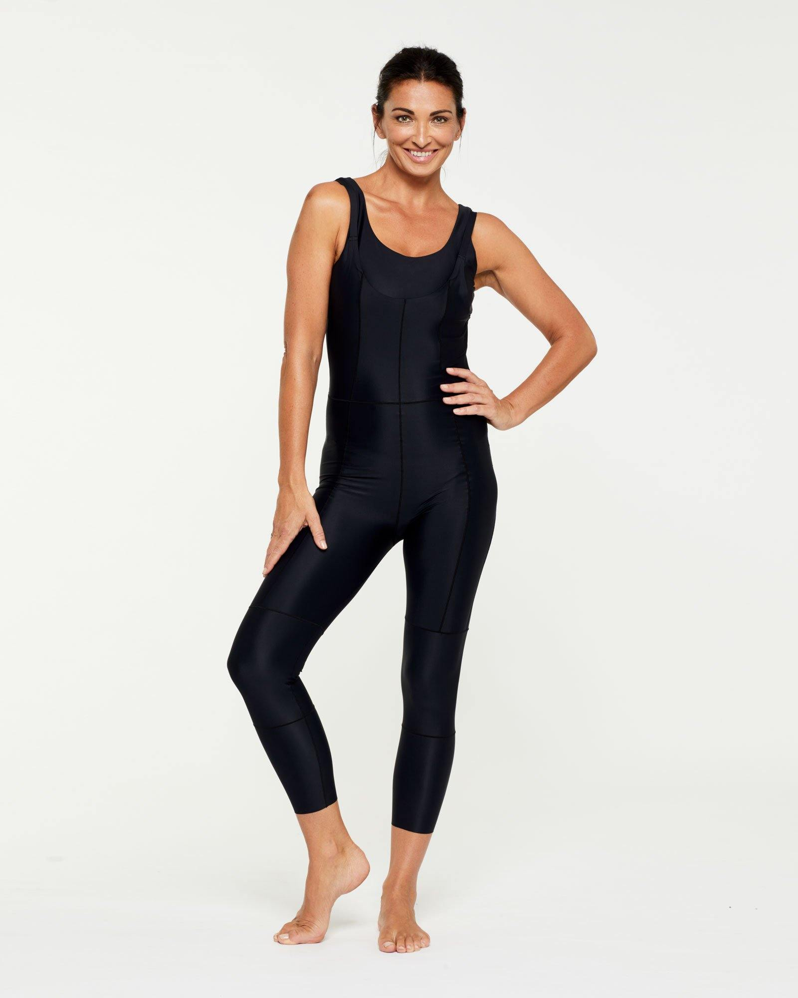 Companion long 7/8 BODYSUIT, Bonded worn high front low back, front view