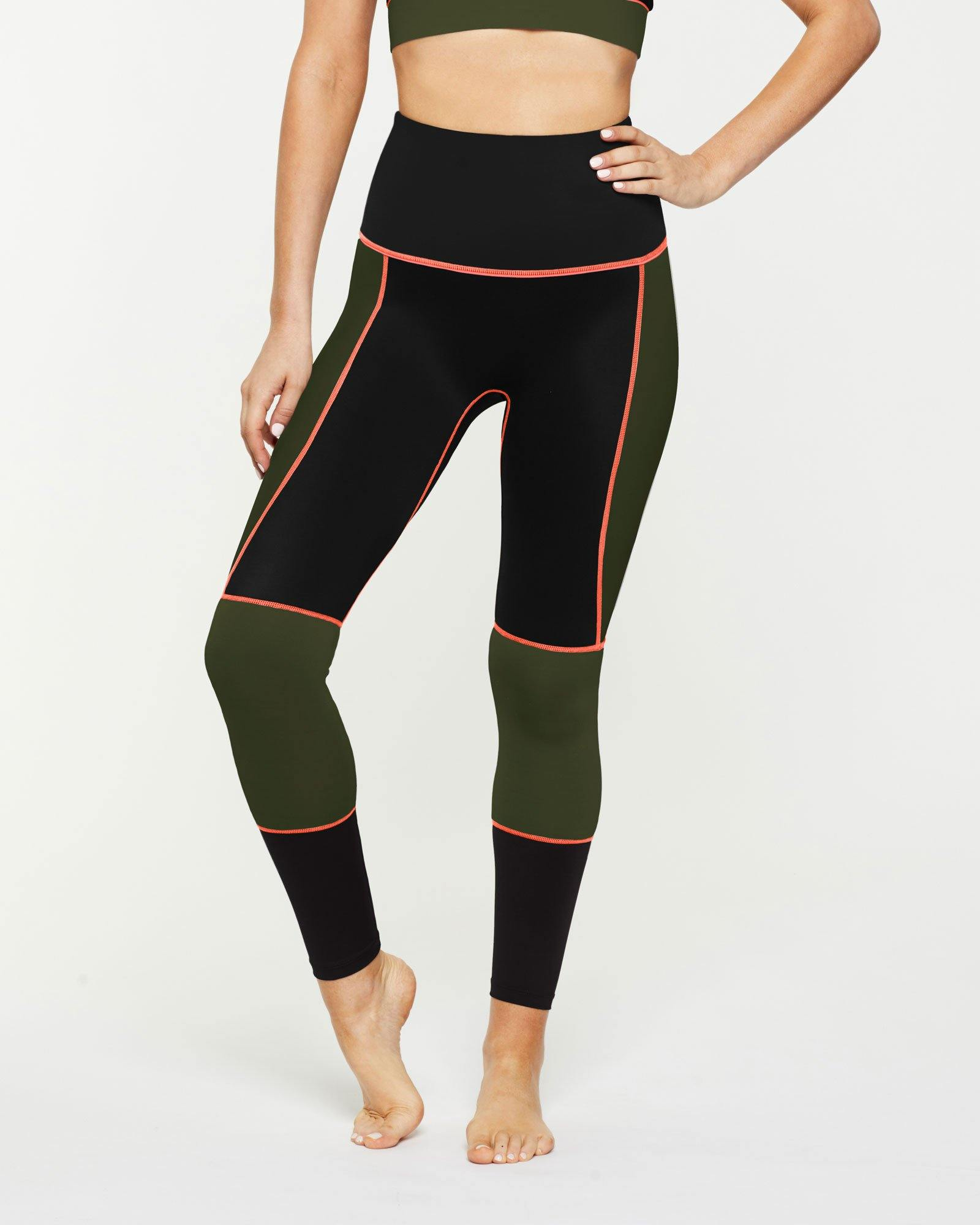 Sergeant Olive GRACILIS 7/8 HIGH WAISTED LEGGING Black WITH CONTRAST PANELS in dark Olive and contrast orange stitching, front VIEW for pilates, barre, yoga, dance, gym-workouts