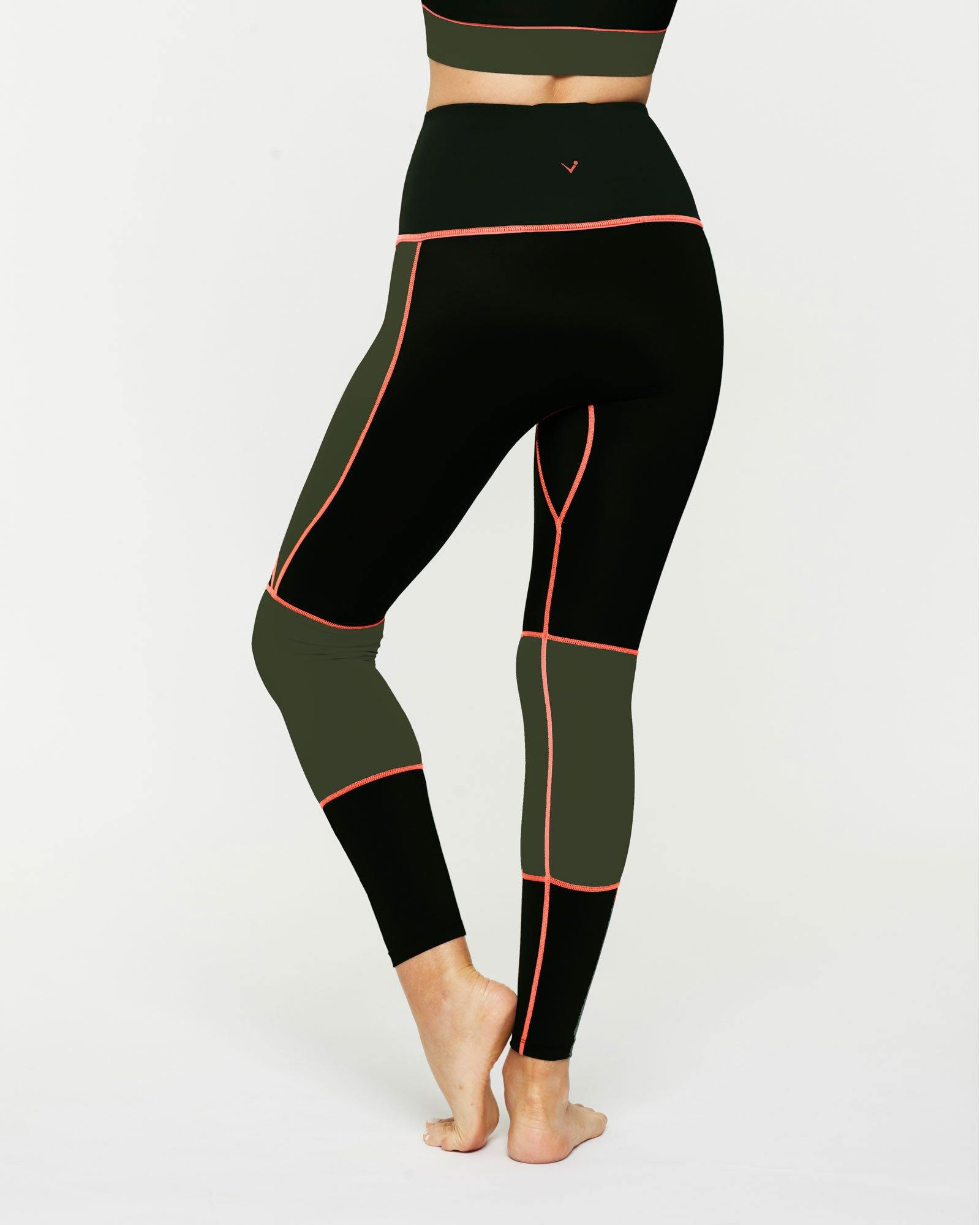 Sergeant Olive GRACILIS 7/8 HIGH WAISTED LEGGING Black WITH CONTRAST PANELS in dark Olive and contrast orange stitching, back VIEW for pilates, barre, yoga, dance, gym-workouts