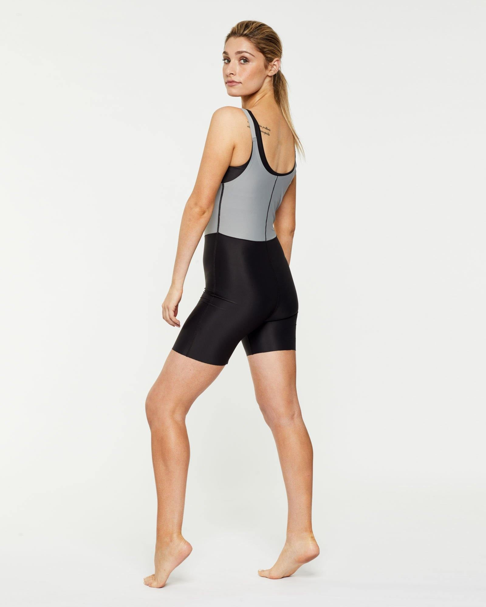 Steely RECTUS SHORT BODYSUIT worn low front over Pectoralis active top and high back, side view