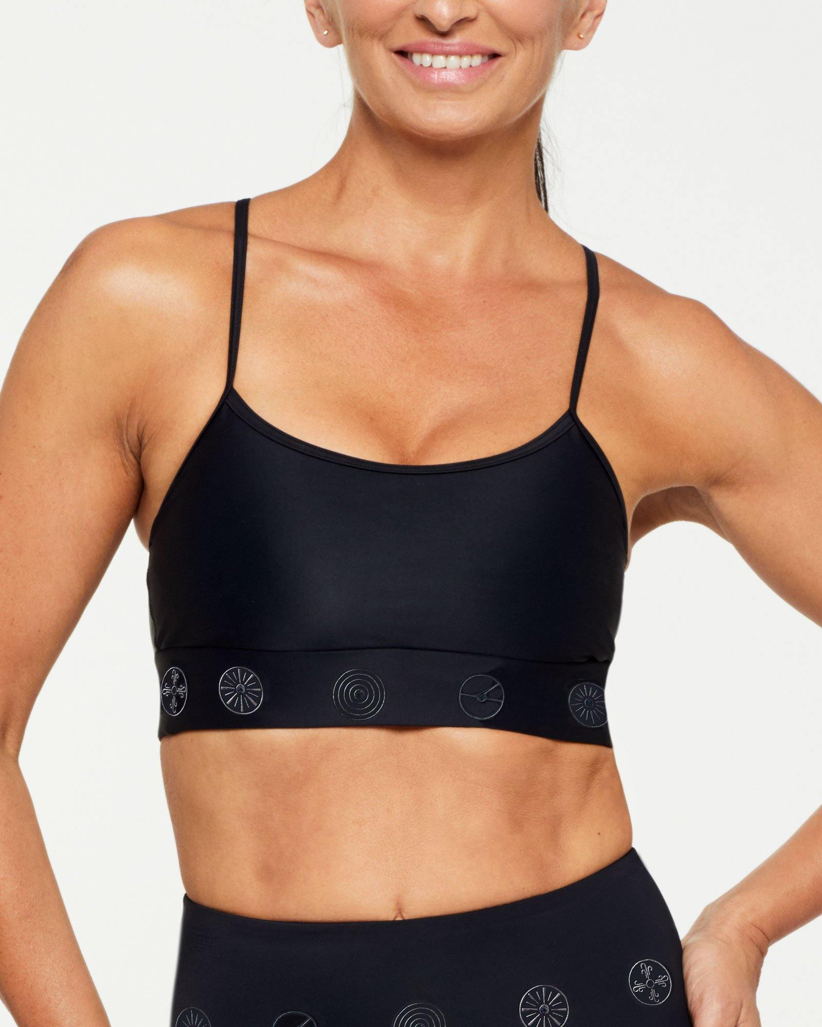 Companion Infraspinatus Bra top BLACK WITH BLACK SYMBOLS, FRONT VIEW