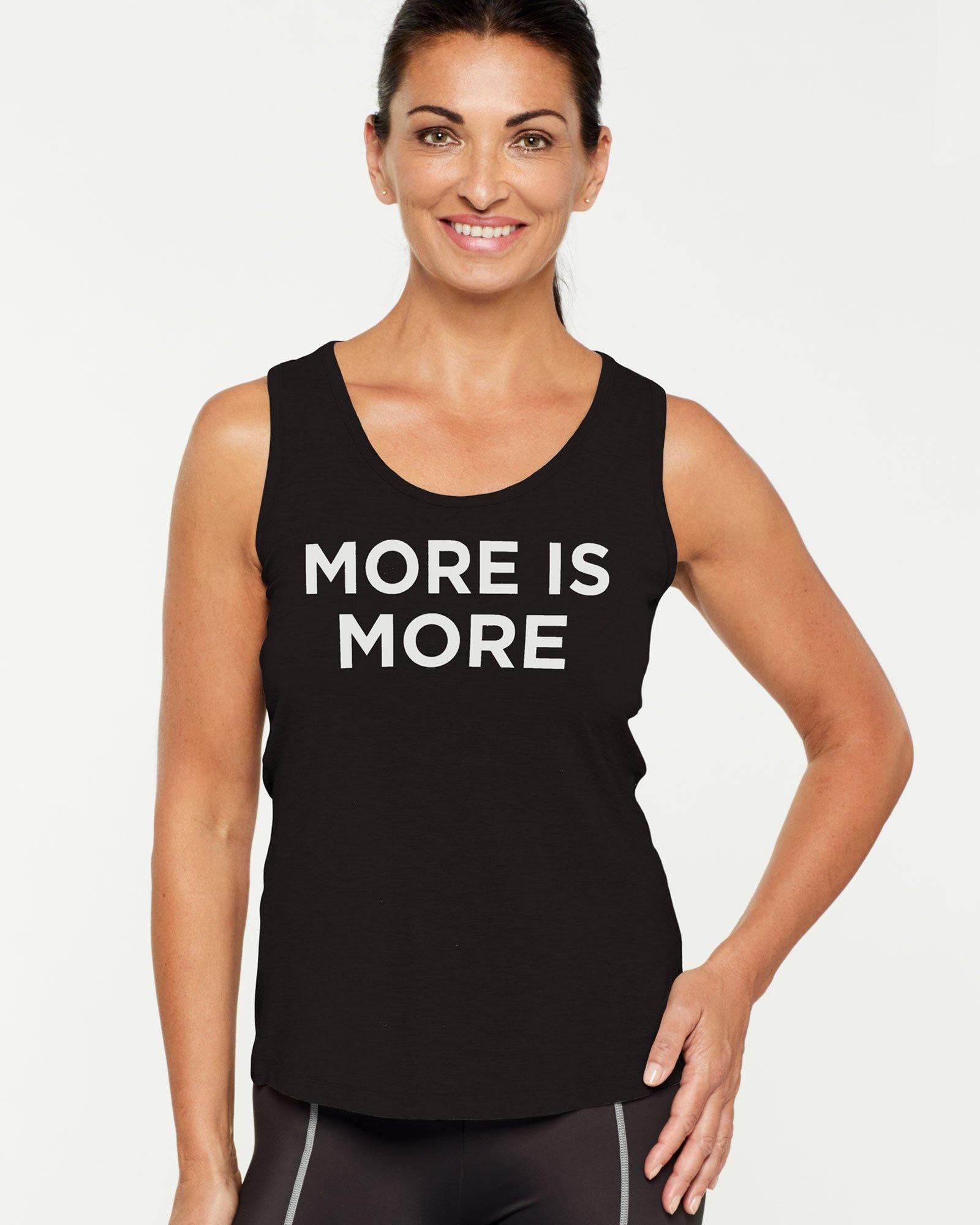 Companion RHOMBOIDEUS BLACK TANK TOP MORE IS MORE message on front in white, front view