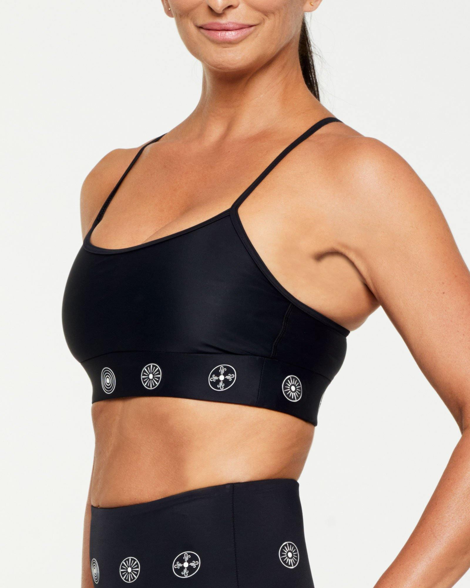 Companion Infraspinatus Bra top, BLACK WITH WHITE SYMBOLS, SIDE VIEW