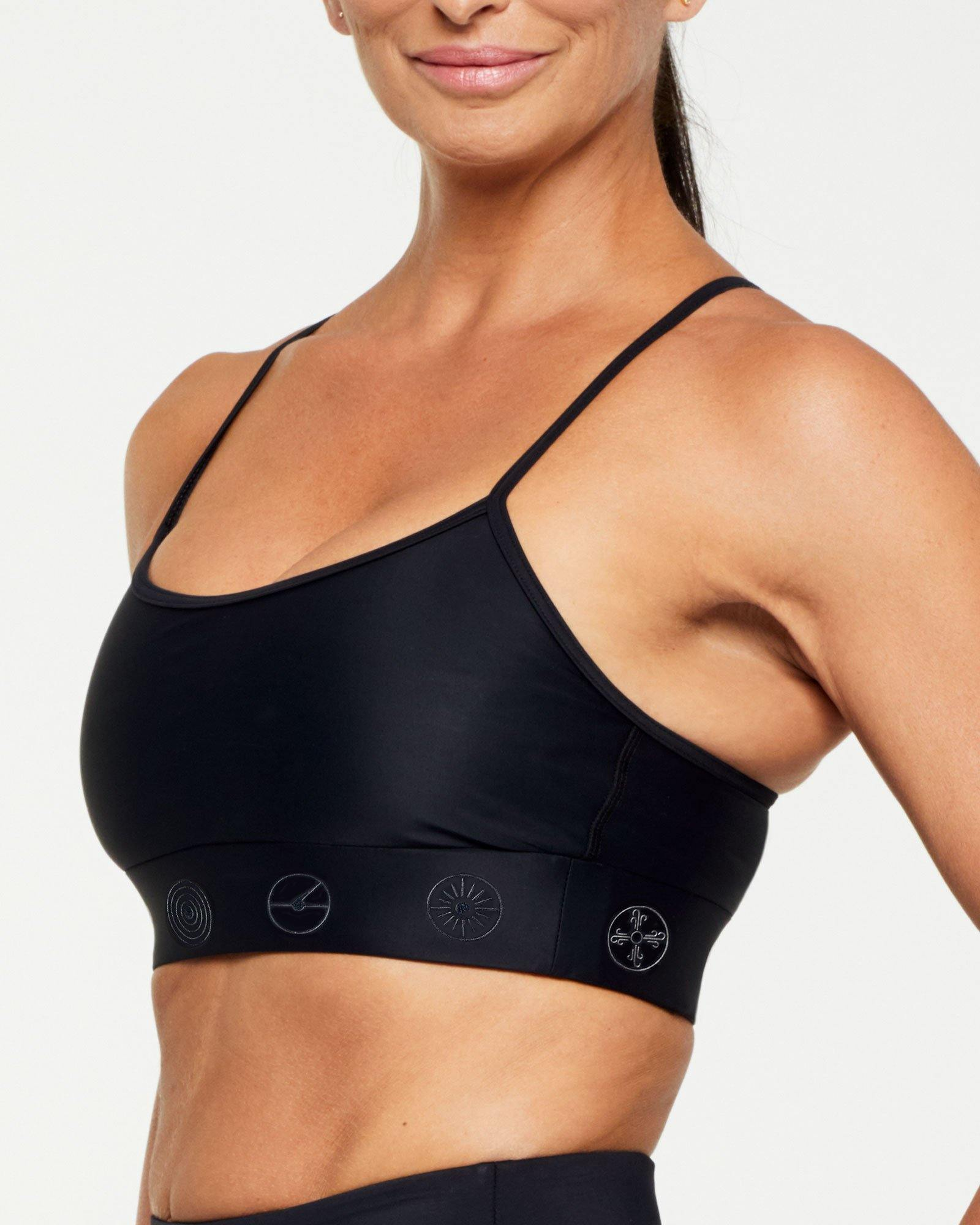 Companion Infraspinatus Bra top BLACK WITH BLACK SYMBOLS, SIDE VIEW