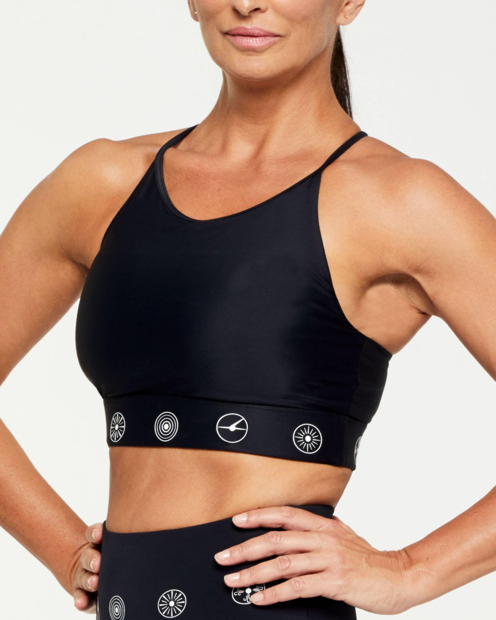 Companion Trapezius Halter Crop Top, Black and White symbols, side view