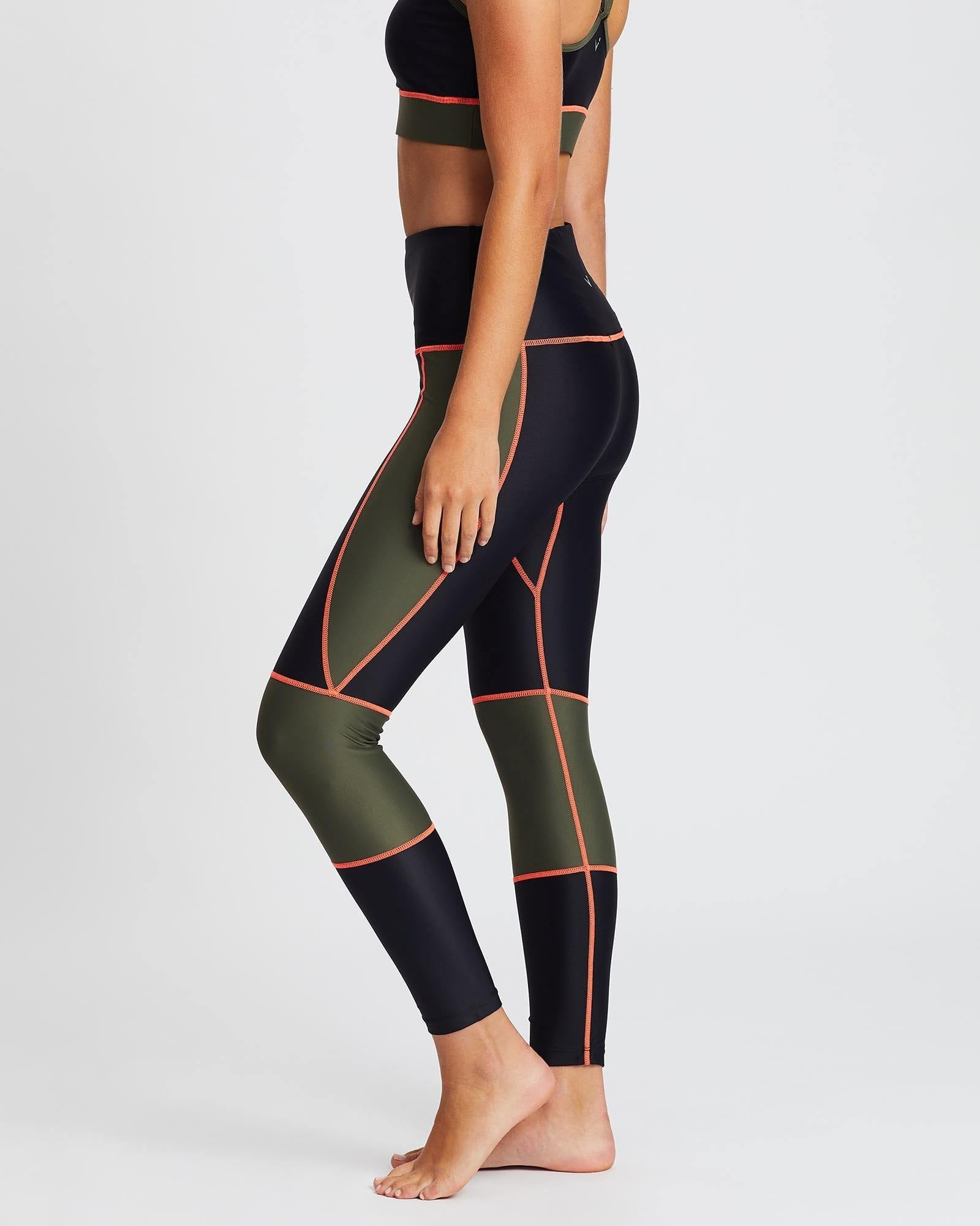 Sergeant Olive GRACILIS 7/8 HIGH WAISTED LEGGING Black WITH CONTRAST PANELS in dark Olive and contrast orange stitching, side VIEW for pilates, barre, yoga, dance, gym-workouts