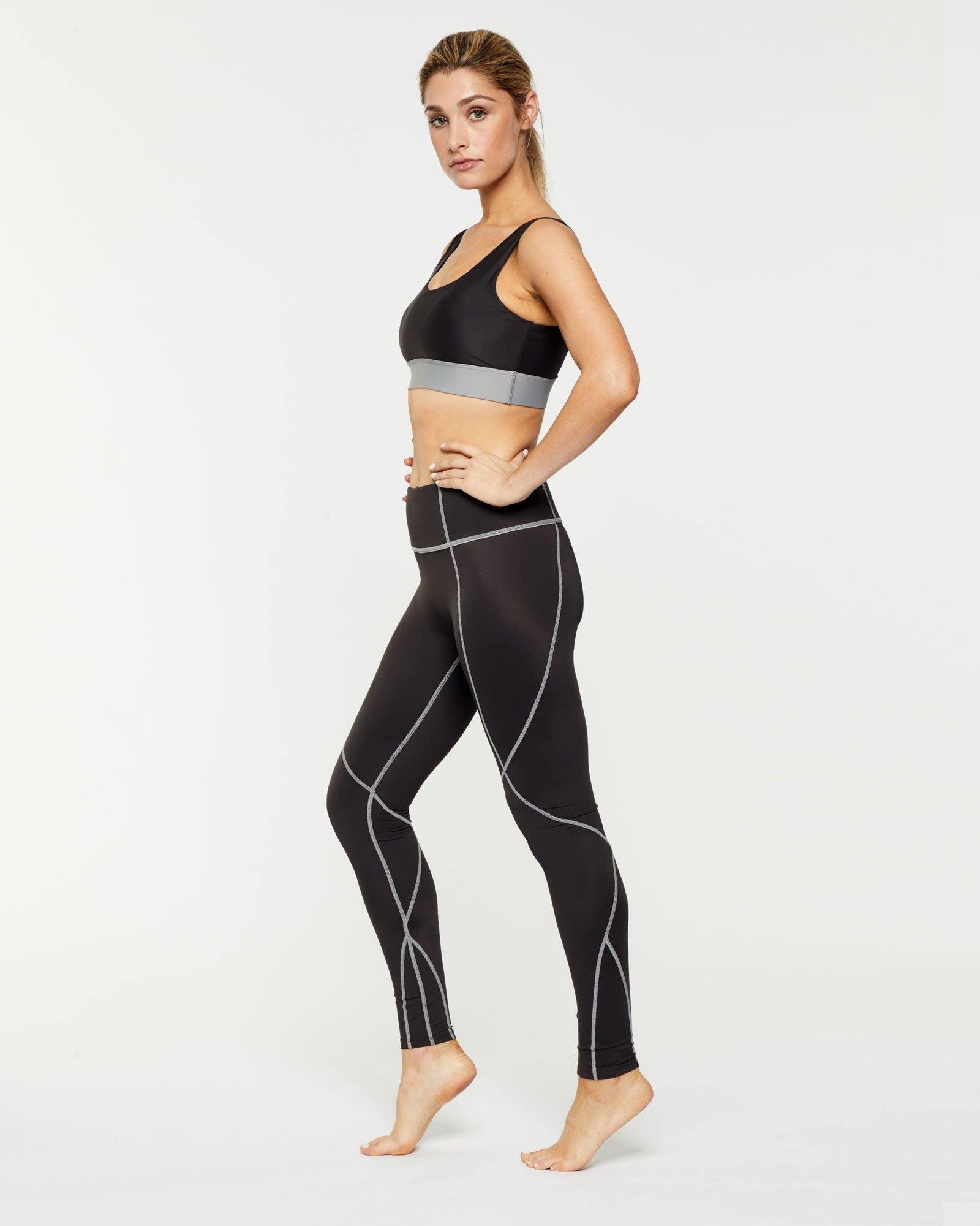 Steely PECTORALIS bra TOP WITH CONTRAST UNDER BUST BAND, WORN WITH VASTUS MID-WAIST LEGGING SIDE VIEW
