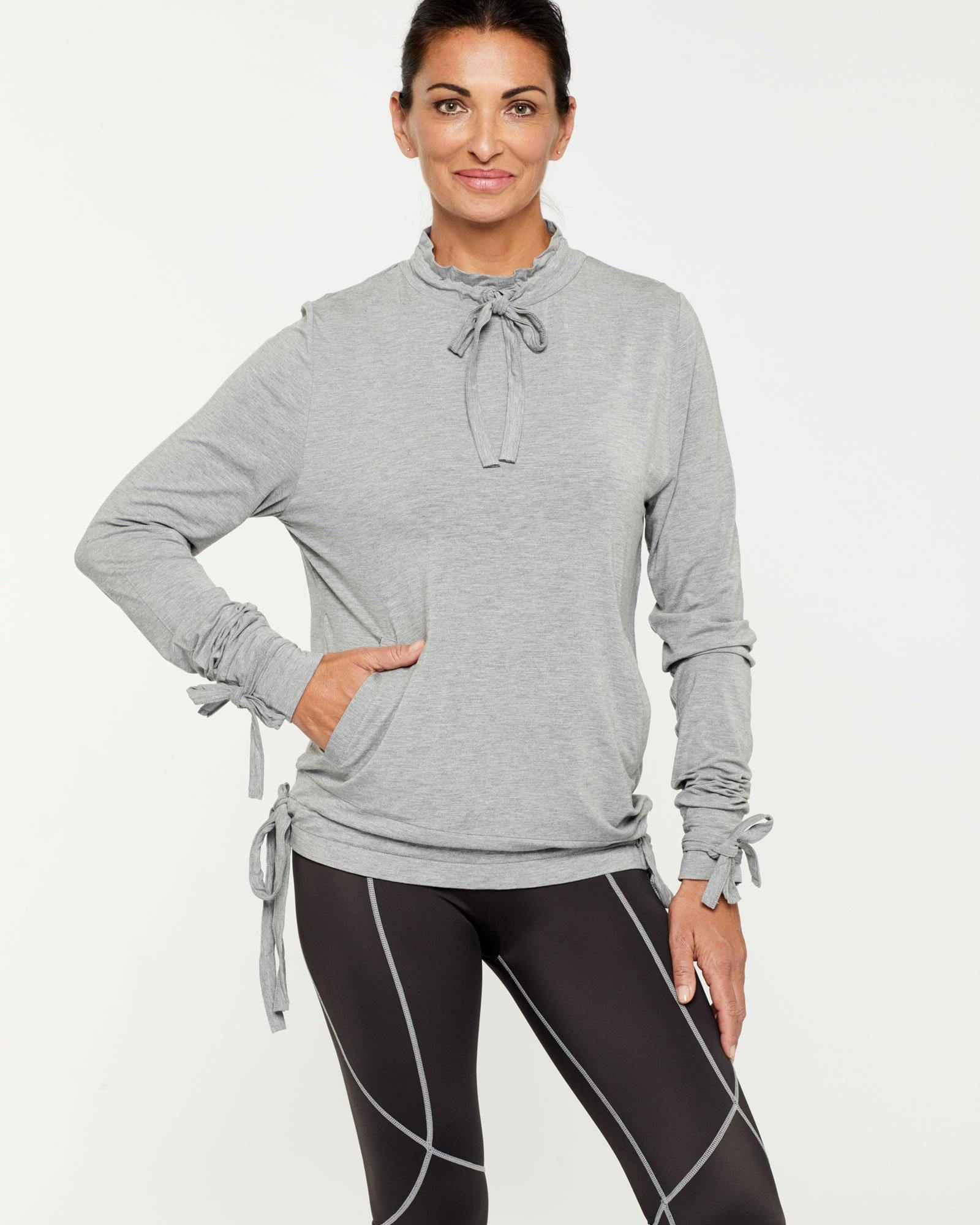 Steely Spinae long sleeve adjustable top with self ties, light grey, bamboo worn with Vastus mid waist full length legging, front view