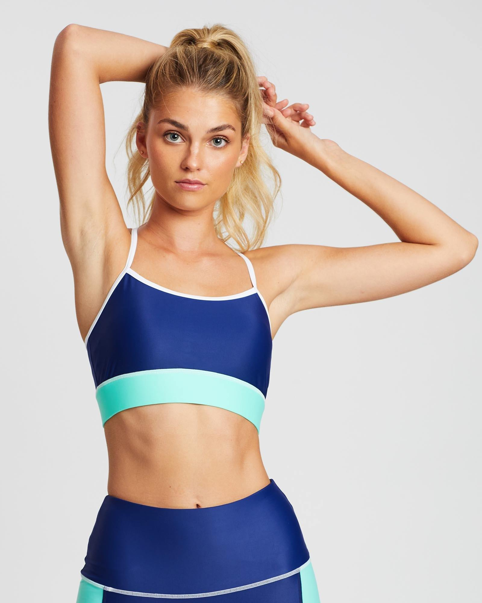 She of the Sea INFRASPINATUS  bra TOP in Blue with Green contrast band and white stitching, ADJUSTABLE STRAPS, FRONT VIEW, great for Pilates and in-studio workouts