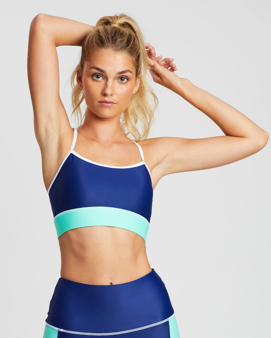 She of the Sea INFRASPINATUS  bra TOP in Blue with Green contrast band and white stitching, ADJUSTABLE STRAPS, BACK VIEW, great for Pilates and in-studio workouts